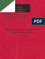 Statuts du Parti Communiste du Québec (PCQ-PCC)