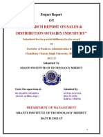 Comparative Study into Sales & distribution of   AMUL DAIRY & PARAG DAIRY.doc