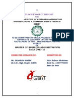 COMPARATIVE STUDY OF CUSTOMER SATISFACTION BETWEEN AIRTEL & VODAFONE MOBILE USERS IN DELHI Pyuesh.doc
