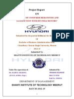 CUSTOMER SATISFACTION WITH  HYUNDAI MOTORS.doc