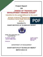 effectiveness of training and development mawana sugar.doc