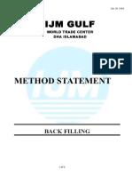 Method Statement for BACK FILLING Final