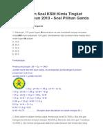 Pembahasan Soal KSM Kimia Tingkat Provinsi Tahun 2013 Lengkap