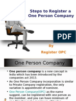 Steps To Register A One Person Company
