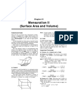Surface Area and Volume | Litre | Triangle