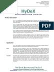 HyDeX Technical Data Sheet