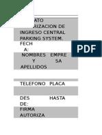Formato Autorizacion de Ingreso Central Parking System