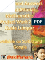 Solution and Answers for Additional Mathematics Project Work 2015 (KL)