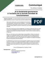 Message de la lieutenante-gouverneure à l'occasion de la Journée mondiale de l'environnement