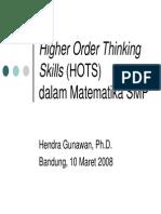 Developing Higher Order Thinking Skills