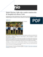 04-06-2015 Sexenio - Rafael Moreno Valle Echa a Andar Construcción de Hospital en La Sierra Norte