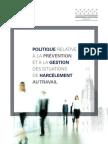 La Politique relative à la prévention et à la gestion des situations de harcèlement au travail