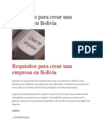 Requisitos Para Crear Una Empresa en Bolivia