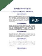 534598 Decreto Numero 35 92 Ley de Congelamiento de Alquileres
