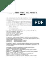 Acta de Visita Tecnica a CIA Minera El Brocal