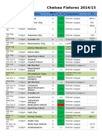Chelsea Fixtures and Results 2014-2015
