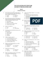 Openmat (Xvi) Entrance Test for Management Programmes