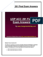 ACC 291 Final Exam Question Answers