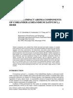 [Doi 10.1007%2F978!1!4615-4783-9_7] Shahidi, Fereidoon; Ho, Chi-Tang -- Flavor Chemistry of Ethnic Foods Character-impact Aroma Components of Coriander (Coriandrum Sativum L.) Herb