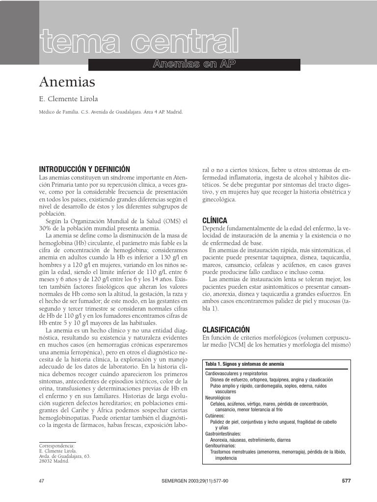 Anemias En Atención Primaria