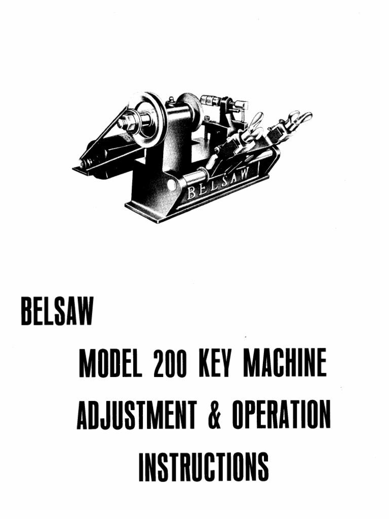 Foley Belsaw Model 200 Key Machine Manual