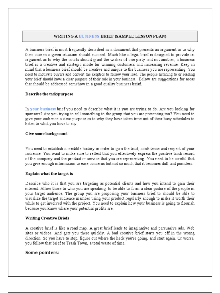 project brief template word - writing a business brief child care sales