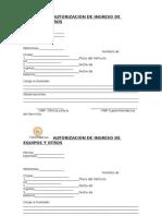 Autorizacion de Ingreso de Equipos y Otros