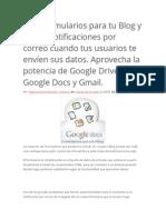 Crea Formularios Para Tu Blog y Recibe Notificaciones Por Correo Cuando Tus Usuarios Te Envíen Sus Datos