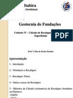 Unidade IV - Calculo de Recalques de FundaçOes Superficiais_VF