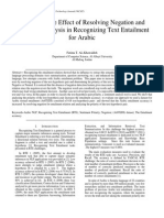 A Study of the Effect of Resolving Negation and Sentiment Analysis in Recognizing Text Entailment for Arabic