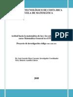 Informe Final Actitud Hacia La Matemática de Las y Los Estudiantes Del Curso Matemática General en El ITCR