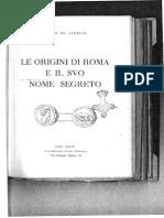 Le Origini Di Roma e Il Suo Nome Segreto Pietro de Angelis