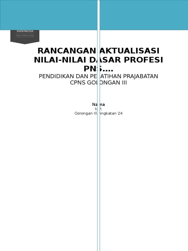 Contoh Format Rancangan Aktualisasi Revisi