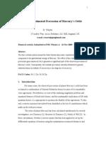 On the Estimated Precession of Mercury's Orbit. PMC Physics A-v2a