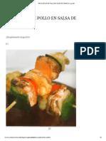 Brochetas de Pollo en Salsa de Jamaica