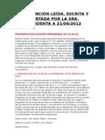 INTERVENCIÓN LEÍDA, ESCRITA Y APORTADA POR LA SRA. PRESIDENTA SESIÓN ORDINARIA 21/06/2012