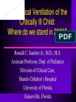 Mechanical Ventilation of the Critically Ill Child