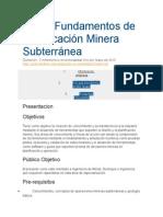 Curso Fundamentos de Planificación Minera Subterránea