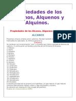 Propiedades de Los Alcanos, Alquenos, Alquinos