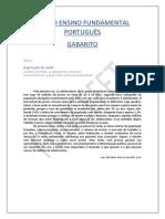 Prova de Português - 9º Ano Fundamental - GABARITO