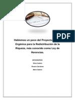 Hablemos un poco del Proyecto de Ley Orgánica para la Redistribución de la Riqueza, más conocido como Ley de Herencias.( Ecuador)