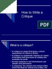 How to Write a Critique