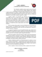 Carta Abierta Comunidad Universitaria - Retorno a Clases