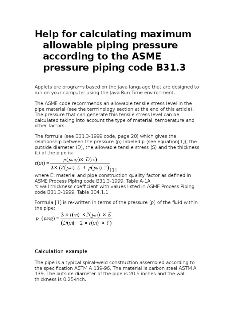 Calculating MAPP PerANSI B31 3 | Pipe (Fluid Conveyance) | Pump