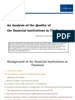 An Analysis of the Quality of the financial institutions in Thailand