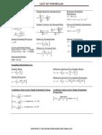 List of Formulae Exam for statistics