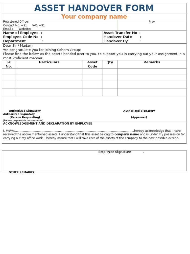Company asset handover form for Interior health employee website