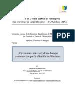Déterminants du choix d'une banque commerciale par la clientèle de Kinshasa
