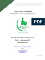 Noticias del Sistema Educativo Michoacano al 8 de junio de 2015