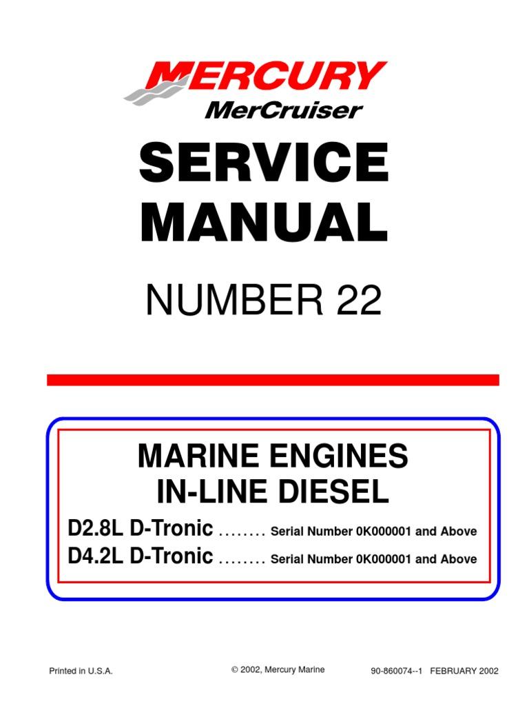 mercruiser service manual 22 in line diesel marine engine